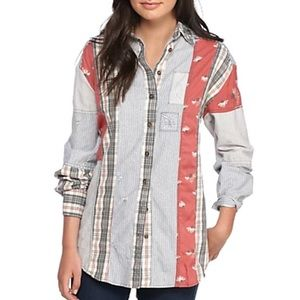 Free People All Patched Up Button Down Shirt M